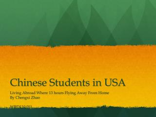 Chinese Students in USA