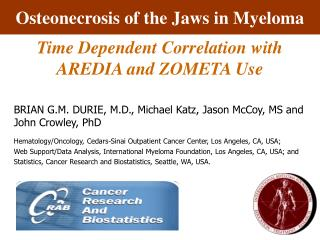 Osteonecrosis of the Jaws in Myeloma