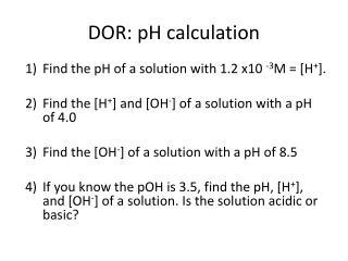 DOR: pH calculation