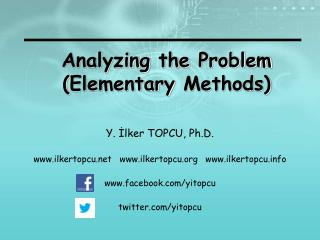 Analyzing the  Problem ( Elementary Methods )
