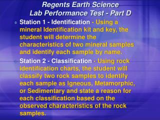 Regents Earth Science Lab Performance Test - Part D