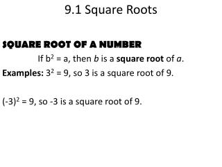9.1 Square Roots
