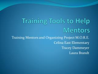 Training Tools to Help Mentors
