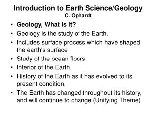 Introduction to Earth Science/Geology C. Ophardt