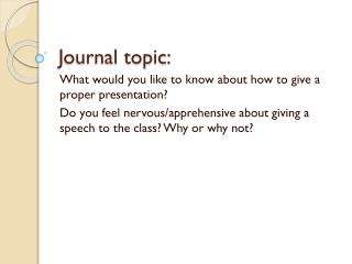 Journal topic: