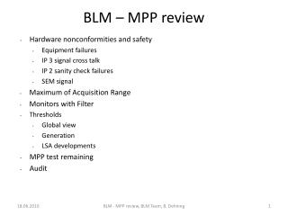 BLM – MPP review