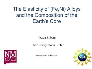 The  Elasticity of (Fe,Ni) Alloys  and the Composition of the Earth's Core
