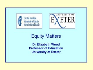 Equity Matters Dr Elizabeth  Wood Professor of Education University of Exeter