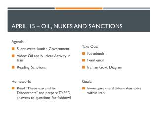 April  15  –  Oil, Nukes and sanctions