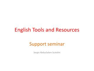 English Tools and Resources