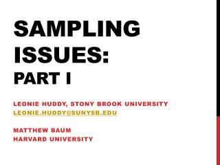 Sampling Issues: part I