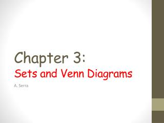Chapter  3 : Sets and Venn Diagrams
