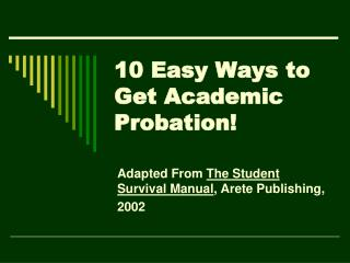 10 Easy Ways to Get Academic Probation