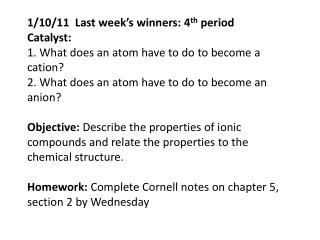 How could ions come together to form compounds?