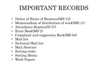 IMPORTANT RECORDS