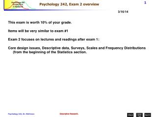 Psychology 242, Exam 2 overview