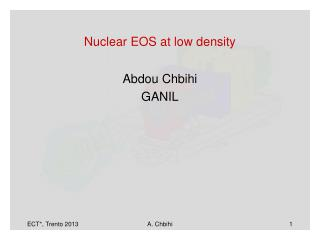Nuclear EOS at low density