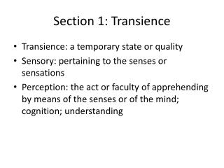 Section 1: Transience