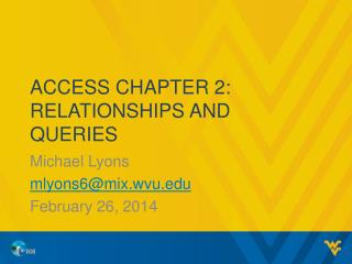 Access Chapter  2 : Relationships and Queries