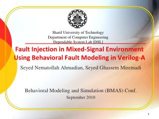 Fault Injection in Mixed-Signal Environment Using Behavioral Fault Modeling in Verilog-A