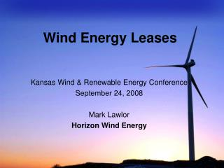 Wind Energy Leases