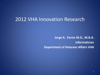 2012 VHA Innovation Research
