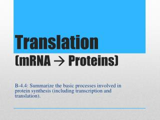 Translation  (mRNA   Proteins)