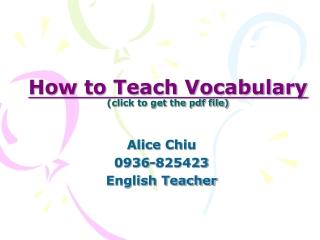 English Vocabulary Learning Strategy