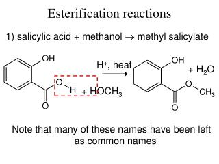 Esterification reactions