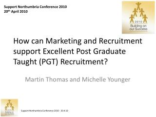How can Marketing and Recruitment support Excellent Post Graduate Taught (PGT) Recruitment?