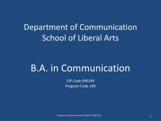 Department of Communication School of Liberal Arts