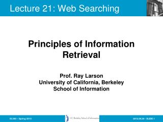 Lecture  21:  Web Searching