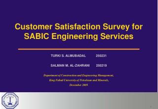Customer Satisfaction Survey for SABIC Engineering Services