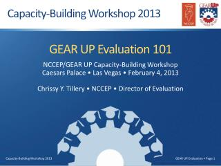 GEAR UP Evaluation 101 NCCEP/GEAR UP Capacity-Building Workshop