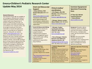 Emory+Children's  Pediatric Research Center Update  May  2014