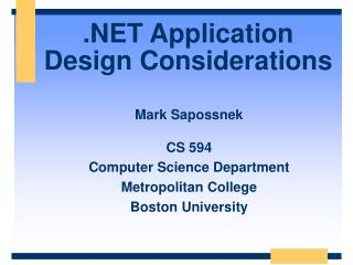 .NET Application Design Considerations