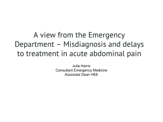 Julia Harris Consultant Emergency Medicine Associate Dean HEE