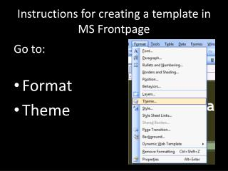 Instructions for creating a template in MS  Frontpage