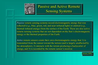 Passive and Active Remote Sensing Systems