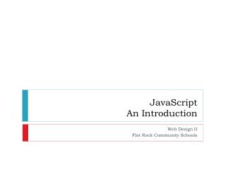JavaScript An Introduction