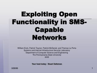 Exploiting Open Functionality in SMS-Capable Networks