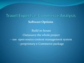 Travel Experts e-Commerce Analysis