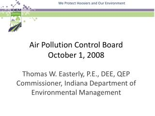 Air Pollution Control Board October 1, 2008