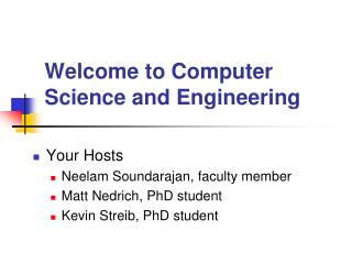 Welcome to Computer Science and Engineering
