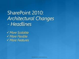 SharePoint 2010: Architectural Changes - Headlines