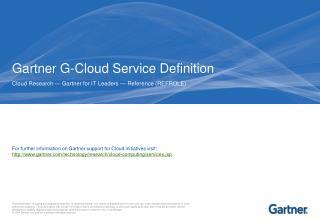 Gartner G-Cloud Service Definition