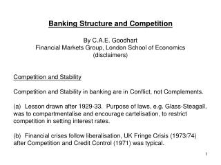 Banking Structure and Competition By C.A.E. Goodhart