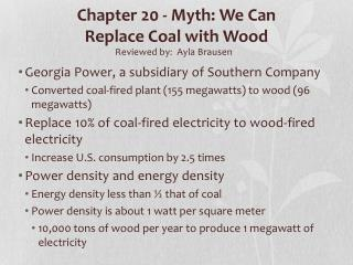 Chapter 20 - Myth: We Can  Replace Coal with Wood
