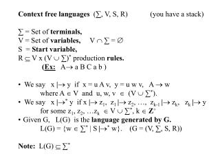 Context free languages   (?, V, S, R)  	(you have a stack) ? = Set of  terminals, V = Set of  variables,      V  ?  ? =
