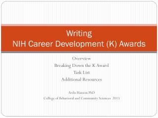 Writing  NIH Career Development (K) Awards